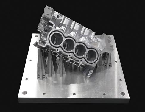 大型部品造形(W424×D317×H339㎜)、ニアネットシェイプ造形で機械加工時間を大幅に短縮(ハイブリッド金属3Dプリンタ独自の機能で造形時に加工基準面を作成可能)
